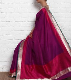 Purple Silk Saree with Self Weaves