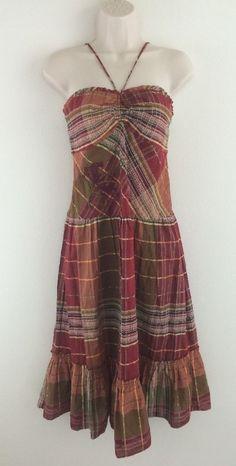 NWT BCBG MAX AZRIA Red Check Hippie Bobo Embroidered Halter Dress M Medium #BCBGMAXAZRIA #Sundress #Casual