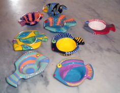 some of my ceramic fishes: READY: fired and glazed