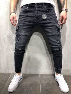 Work Fashion, Fashion Men, Formal Men Outfit, Latest Jeans, Pantalon Cargo, Joggers Outfit, Ripped Jeans Men, Raw Denim, Korean Street Fashion