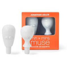 From New York designer Jonathan Adler, the Mr & Mrs Muse bottle stopper set is the perfect surrealist gift for housewarmings and drinks parties. Muse, Jonathan Adler, Mr Mrs, Luxury Wedding Gifts, Bottle Stoppers, Bottle Openers, Luxury Holidays, Bar Accessories, Party Drinks