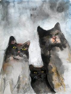 GANG OF CATS (Peinture), 21x28,5 cm par evafialka Peinture aquarelle sur…