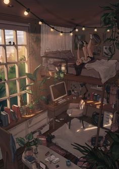 Aesthetic Bedroom, Aesthetic Art, Aesthetic Anime, Animes Wallpapers, Cute Wallpapers, Japon Illustration, Room Design Bedroom, Cosy Bedroom, Bedroom Ideas