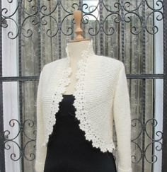PLUS SIZE Bridal Bolero Jacket Hand Knit Ivory Sweater Knitting Knitted Cardigan Crochet Border 3/4 Sleeve Shrug Wool Cardigan