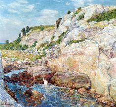 """""""Northeast Gorge at Appledore,"""" Frederick Childe Hassam, 1912, oil on canvas, 24.5 x 26.5"""", private collection."""