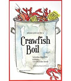 Crawfish Boiling Pot Invitation
