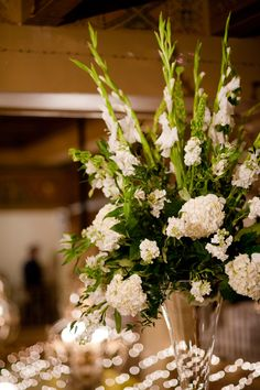 Large White Gladiolus and Hydrangea Centerpieces