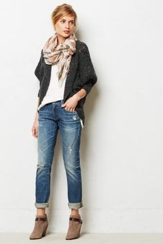 Cardigan, scarf, Jeans, short boots