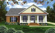 This Colonial House Plan includes 3 bedrooms / 2.5 baths in 2000 sq ft of living space.  Its open floorplan layout is flexible and is ideal for your growing family.  Best of all, its designed to be affordable to build and includes all of the most popular features you're looking for in your next home design.    #houseplan #dreamhome #HPG-2000M #HousePlanGallery #houseplans #homeplans Colonial House Plans, Southern House Plans, Ranch House Plans, Bedroom House Plans, New House Plans, Small House Plans, House Plans With Pictures, Brick Siding, Cottage Homes