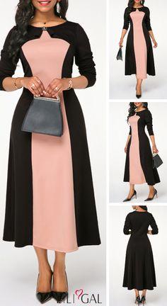 50 Round Neck Color Block Rhinestone Embellished Dress liligal dresses is part of Embellished dress - Simple Dresses, Elegant Dresses, Nice Dresses, Casual Dresses, Dresses Dresses, African Fashion Dresses, African Dress, Fashion Outfits, Beautiful Dress Designs
