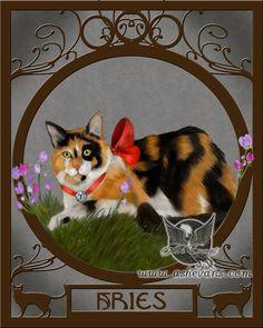 Ash Evans Aries Zodicat zodiac cat print