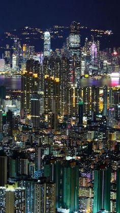Twinkling night lights of Hong Kong.