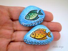 Orange  Green Blue  Fishes Painted Stones  ,decorative rock art. $25.00, via Etsy.