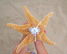 Playa boda Starfish anillo portador almohada por JsWorldOfWonder
