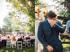 groom crying during ceremony - photo by Veronica Varos Photography http://ruffledblog.com/chic-autumn-wedding-in-pennsylvania