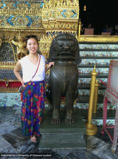 UD Student, Vi Bui, at the Temple of the Emerald Buddha in Bangkok, Thailand. #UDAbroad