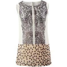 Ladylike Tunic CAbi ❤ liked on Polyvore featuring tops, tunics, cabi, cabi tops, geometric top, cabi tunic and sleeveless tunic
