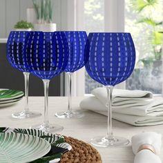 Beachcrest Home Blue Hill 18 oz. Blue Wine Glasses, Painted Wine Glasses, Red Wine, Wine Bottle Holders, Glass Candle Holders, Wine Rack Wall, Wine Racks, Old Fashioned Glass, Wine Glass Set