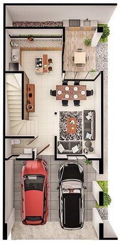 Apartment floor plan narrow Ideas for 2019 Small House Plans, House Floor Plans, The Plan, How To Plan, Model House Plan, Architectural House Plans, Narrow House, Duplex, House Blueprints