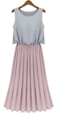 Grey Sleeveless Contrast Pink Pleated Maxi Dress