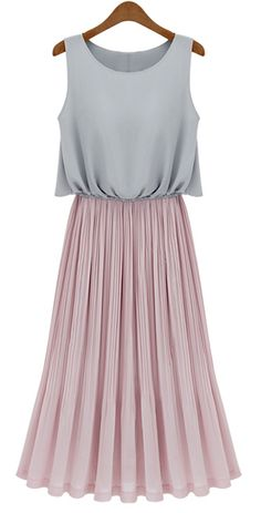 Grey Sleeveless Contrast Pink Pleated Maxi Dress