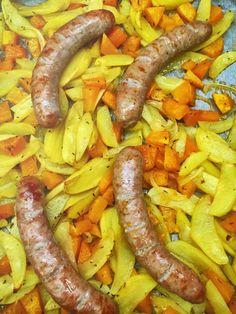 Wurst-Gemüse-Blech: Herbst-Hit auf dem Familientisch
