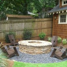 New Pea Gravel Patio Project! & Backyard Inspiration Inexpensive Backyard Landscaping and fire pit for those slightly cooler nights in late summer early fall :) Fire Pit Backyard, Backyard Patio, Backyard Landscaping, Landscaping Ideas, Patio Ideas, Firepit Ideas, Backyard Seating, Backyard Retreat, Fire Pit Gravel Area