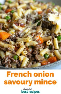 A packet of French onion soup mix gives this savoury mince some extra flavour, and baked with a cheesy topping in the oven, it'll be a hit with the whole family. #savourymince #mince #dinne