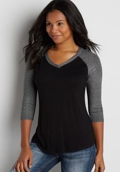 baseball tee with shimmer sleeves (original price,  $29.00 ) available at #Maurices