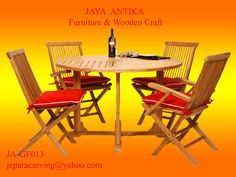 Kode Barang : JA-GF013 Nama Barang : Set Meja Taman Bulat  Set Meja Taman Bulat merupakan produk dari Jaya Antika Furniture, terbuat dari kayu pilihan serta dikerjakan oleh tukang kayu yang sudah sangat berpengalaman dalam pembuatan Set Meja Tama