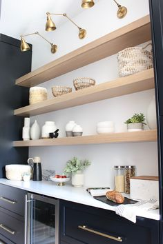 Butler's Pantry Open Shelf Styling: 3 Simple Tips To An Organic Styling Approach Butler's Pantry Open Shelf Styling: 3 Simple Tips To An Organic Styling Approach - The House of Silver Lining, Dining Room Shelves, Kitchen Shelves, Kitchen Decor, Kitchen Ideas, Room Kitchen, Design Kitchen, Pantry Lighting, Mexican Style Kitchens, Open Pantry