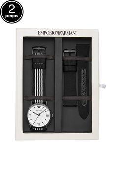 121b95c63e2 Kit 2Pçs Relógio Empório Armani AR80004 8BN Prata Preto