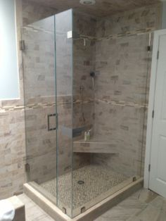 Custom frameless corner shower Scarsdale, N.Y. Westchester
