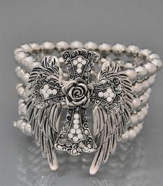 Angel Wings Cross Rose Flower Western Jewelry Cowgirl Rhinestone Bracelet | eBay