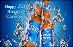 Bud Light Beer Personalized Happy Birthday Edible Cake Design Topper