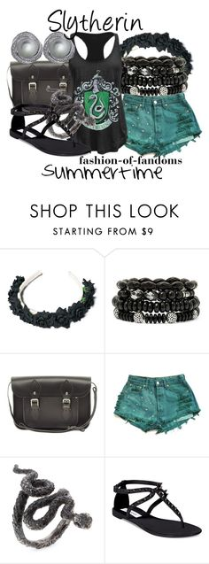 """""""Slytherin"""" by fofandoms ❤ liked on Polyvore featuring Mixit, The Cambridge Satchel Company, Levi's, Steve Madden and CARAT*"""