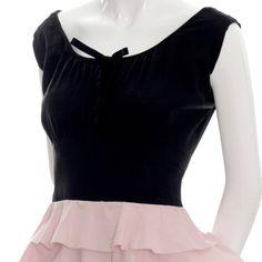 1940s rare Gilbert Adrian Original vintage dress pink black ruffles image 4  jαɢlαdy