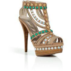 LE SILLA Tan and Emerald Crystal Embellished Platform Sandals
