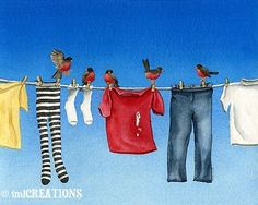 Items similar to Laundry Duty - ORIGINAL watercolor painting by Tracy Lizotte on Etsy Watercolor Bird, Watercolor Paintings, Laundry Art, Laundry Room, Whimsical Art, Bird Prints, Beautiful Paintings, Fine Art Paper, Canvas Art