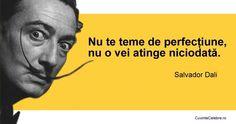 """""""Nu te teme de perfectiune, nu o vei atinge niciodata. """" - Salvador Dali"""