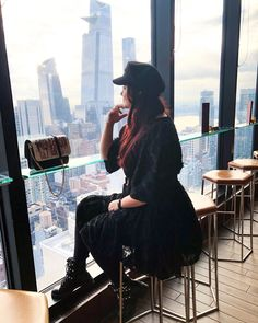 ROXANE - Travel : A perfect view over New York City. A drink at Dear Irving on Hudson offers a fantastic view over the city. New York City, Chloe, Drink, Skirts, Travel, Style, Fashion, Swag, Moda