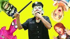 Joker Become POLICE OFFICER! w/Pink Spidergirl Frozen Elsa Superman Anna...