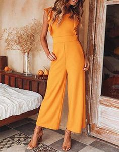 I Hope You Dance Jumpsuit Mustard I Hope You Dance Jumpsuit Mustard - Jumpsuits and Romper Yellow Jumpsuit, Ruffle Jumpsuit, Denim Romper, Jumpsuit Outfit Dressy, Elegante Jumpsuits, Look Fashion, Fashion Outfits, Fashion Women, Romper Outfit