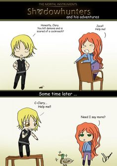 JessicaLewis drew the next funny work ...  clarissa 'clary' fray,  jace herondale, the mortal instruments