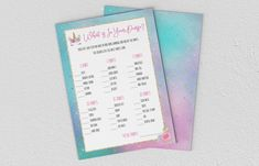 Baby Shower Games - Unicorn - What's In Your Purse? Whats In Your Purse, Baby Shower Games, A5, Etsy Store, Unicorn, Printing, Invitations, Purses, Digital