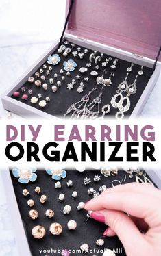 DIY Earring Organizer An easy solution for earring storage PLUS 2 other DIY jewelry organization ideas with this video tutorial Actually Alli 843299098950337170 Diy Jewelry Unique, Diy Jewelry To Sell, Diy Jewelry Rings, Diy Jewelry Making, Recycled Jewelry, Jewelry Accessories, Fine Jewelry, Jewelry Wall, Natural Jewelry