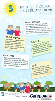 5 Things to Look For in a Retirement Home  LOOK AT PINTEREST BOARD Infographics About Seniors