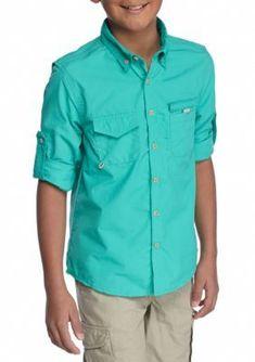 J. Khaki Green Isle Fishing Shirt Boys 8-20