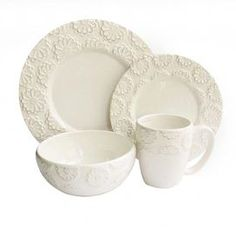 """Create a charming tablescape for your guests to enjoy with this chic entertaining necessity.    Product: 4 Dinner plates4 Salad plates4 Soup bowls4 Mugs    Construction Material: Ceramic    Color: White   Features:  Evokes charming country cottage chic charm    Lovely addition to a rustic farmhouse table       Dimensions: Dinner plate: 10.5"""" Diameter eachSalad plate: 8.5"""" Diameter eachSoup bowl: 5.5"""" Diameter eachMug: 4"""" Diameter each    Shipping: This item ships small parcelExpected Arrival…"""