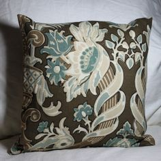 """Two Floral Linen 18"""" Pillow Covers in Robin's Egg Blue and Dark Chocolate Brown.  via Etsy."""